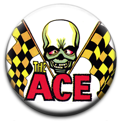 the ace skull racing flags badge
