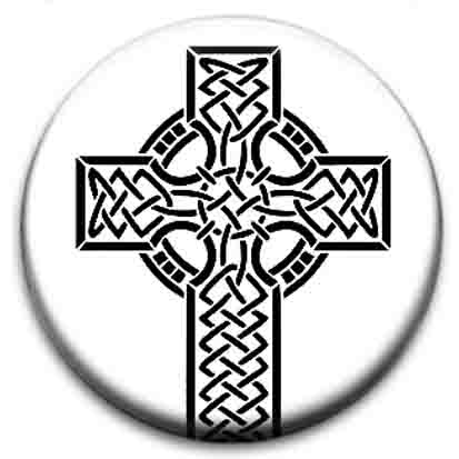 Celtic Cross Symbol Small Retro Badge